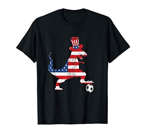 T-REX SOCCER BALL AMERICAN FLAG 4TH OF JULY SOCCER GIFT T-Shirt