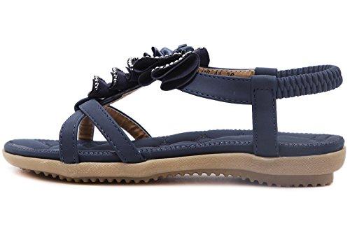 Mujer Sandalias Bohemio Flor Playa Rhinestone Ahuecar Soft Elástico Sandalias de BIGTREE Azul