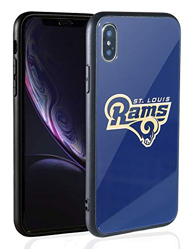 Sportula NFL Phone Case - 9H Tempered Glass Back Cover and Silicone Rubber Bumper Frame Compatible Apple iPhone X/iPhone Xs (St. Louis Rams) - Louis Rams Rubber