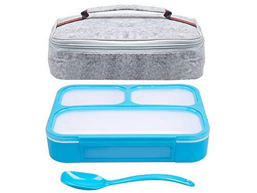 Bento Lunchbox & Bag Set for Kids and Adults, Airtight and Leakproof 3-Compartment Reusable Food Storage Container with Matching Spoon, Plus Felt Insulated Tote Lunch Bag, Great for Travel, by ()