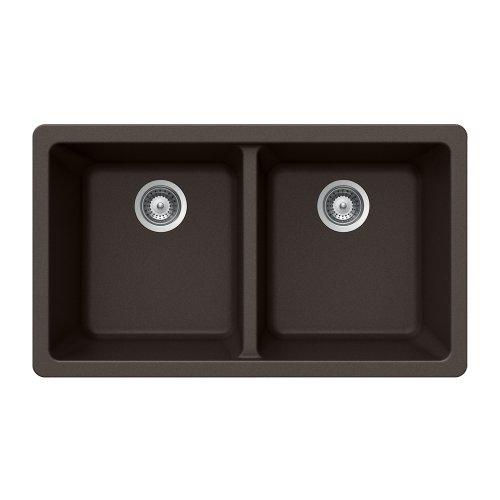 Houzer MADISON N-200U MOCHA Madison Series Undermount Granite Double Bowl Kitchen Sink, Mocha