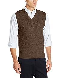 Haggar Men's Heather Diamond-Texture Stitch V-Neck Vest