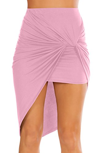 Womens Drape Up Stretchy Asymmetrical High Low Short Mini Bodycon Pencil Skirt (Size X-Large, Dusty Pink) -