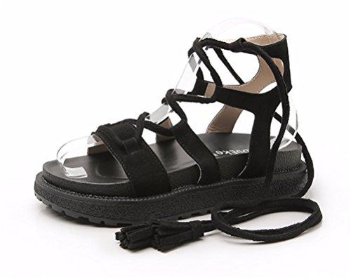 NVXIE Femmes des Sandales Ficeler Appartement Strappy Été Open Toe Fille Romain Plage Chaussures Taille black