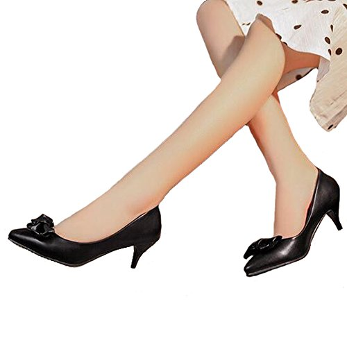 ANDAY Elegant Women Lady Pointed Toe Low Heeled Shoed Stiletto Heels Autumn Spring Sandals Pumps Black YTer4DDk2J