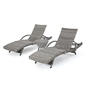Keira Outdoor 3 Piece Grey Wicker Armed Chaise Lounges with Grey Wicker Circular Side Table