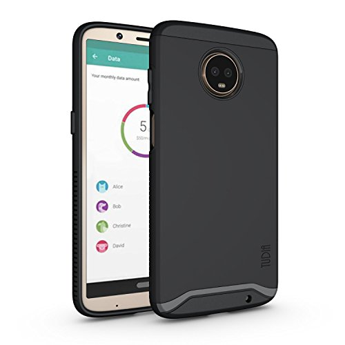 Moto Z3 Play Case, Moto Z3 Case, TUDIA Slim-Fit Heavy Duty [Merge] Extreme Protection/Rugged but Slim Dual Layer Case for Motorola Moto Z3 Play (Matte Black)
