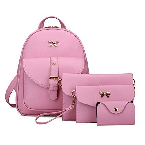 BZLine® 4 Sets Frauen Mädchen Reise Rucksack Schule Tasche Tasche Handtasche Pink RE8Ch0us