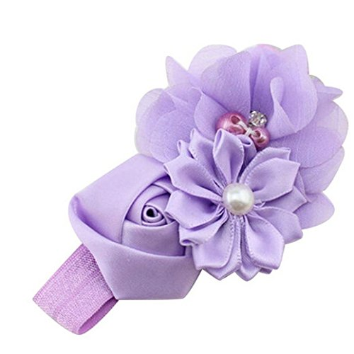 Usstore 1PC Baby Kids Pearl Flower Bowknot Headband Headdress (Purple)