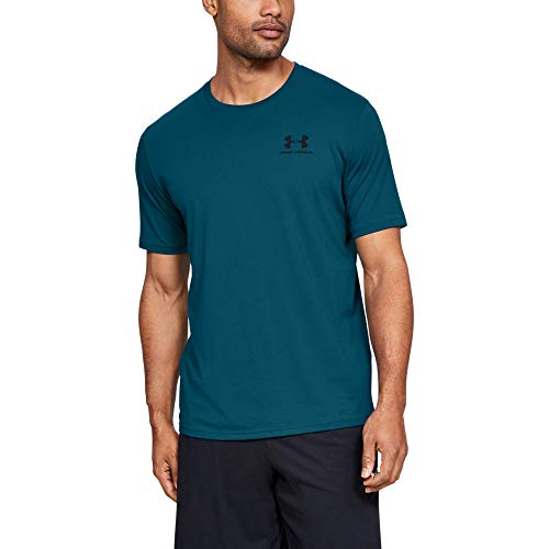 Under Armour mens Sportstyle Left Chest Short Sleeve T-Shirt, Teal Vibe (417)/Black, X-Large