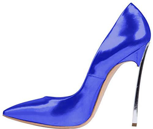 toe Punta 12cm Calaier Tacco Linjie Blu Donna Calzature Scarpe Su Scivolare Col qIAIEtra