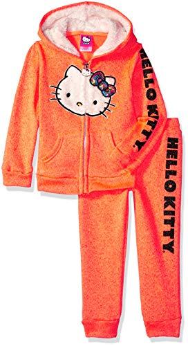 Hello Kitty Little Girls 2 Piece Hooded Fleece Active Set, Neon Coral 6