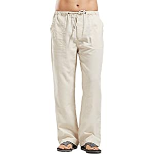 utcoco Qiuse Men's Casual Loose Fit Straight-Legs Stretchy Waist Beach Pants