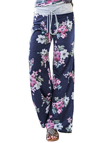 (iChunhua Women's Pajama Comfy Floral Print Lounge Drawstring Palazzo Long Wide Leg Pants L Blue)