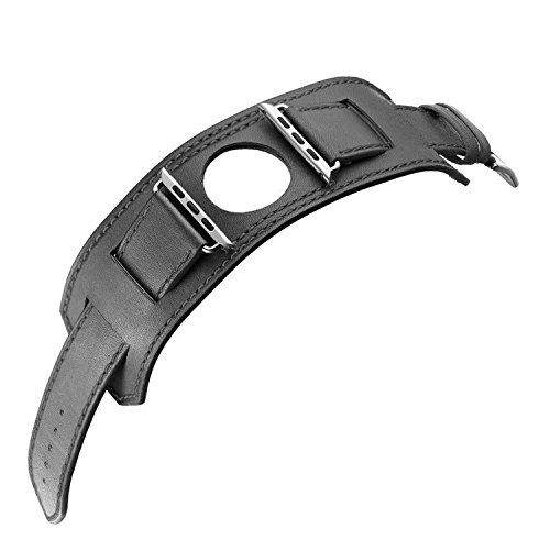 Finny Apple Watch Band, Leather Strap Smart Watch Band Replacement Wristband with Stainless Steel Adapter Metal Clasp for Apple Watch Series 1 Series 2 (Black, 38mm) (Cuff Grain)