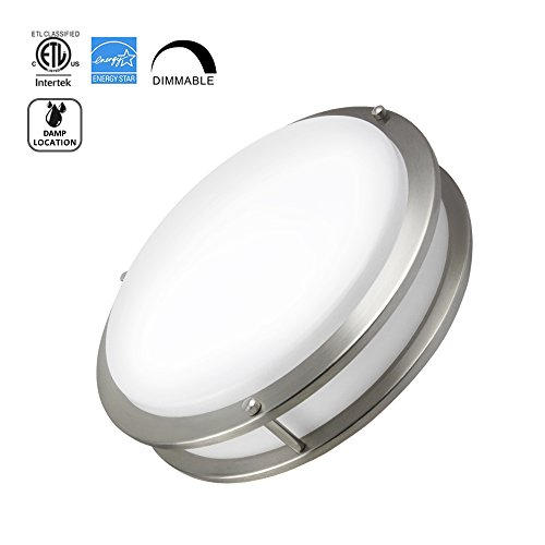 Worbest LED Flush Mount Ceiling Light, 12-Inch 15W (75W equivalent), 3000K (Soft White) 1150lumens, Dimmable Damp Location Ceiling Lamp Fixture,Brushed Nickel, ETL and ENERGY STAR (Home Furnishing Ceiling Lamp)