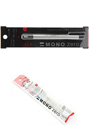 - Tombow MONO Zero Eraser, Round Tip, Retractable, Silver Barrel (Eraser with an extra refill (57305 and 57307))