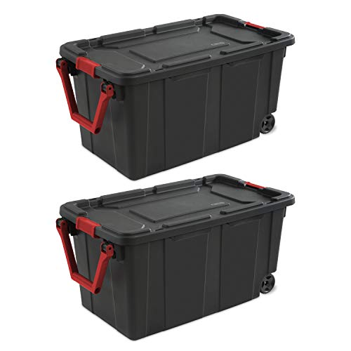 (Sterilite 14699002 40 Gallon/151 Liter Wheeled Industrial Tote, Black Lid & Base w/ Racer Red Handle & Latches, 2-Pack)