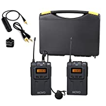 Movo WMIC70 Wireless 48-Channel UHF Lavalier Microphone System with Omni-Lav, Camera Mount & 3.5mm/XLR Outputs (328-foot Range)
