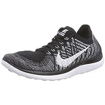 Nike Women's Free 4.0 Flyknit Running Sneaker, Black/White/Wolf Grey