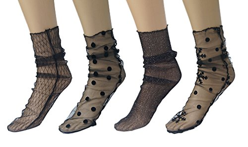(AIYUE 4 Pairs Women Lace Fishnet Anklet Socks Hollow Out Short Sock Pile Heap Socks Black)
