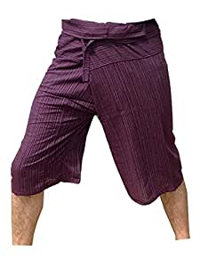 Thai Fisherman Pants Yoga Trousers Free Size 3/4 Cotton Stripe-Purple