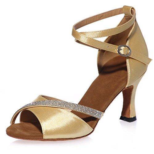 5 Fibbia da da Cm Donna Plateau Jazz Ballo Promenade A8349 Raso Gold Classico con 7 Tacco Scarpe Latina Latino Elobaby gq50waW