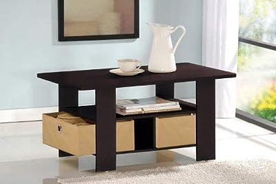 Furinno 11157CWN/DBR Andrey Bin Drawer End Table, 1, Columbia Walnut/Dark Brown