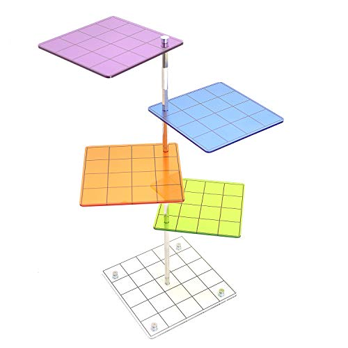 3D Combat Risers Set Colored Acrylic Connected by Metal Pillars Flying Miniature Flight Stand with 1 Inch SquareGrid Great Wargame Space for D&D and Other Tabletop ()