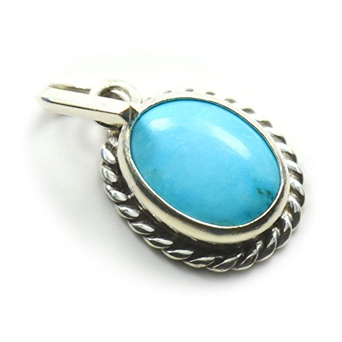 55Carat Turquoise Pendant 8 Carat Genuine Natural Oval Shape Gemstone in 92.5 Sterling - Turquoise Charm Oval