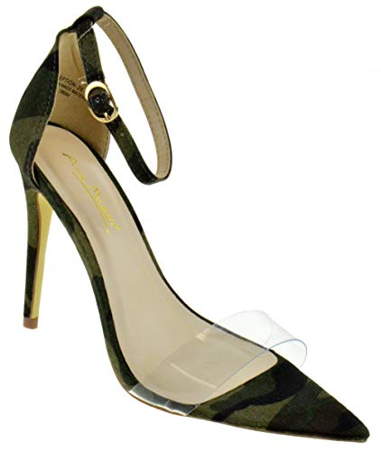 Anne Michelle Exception 28 Womens Single Band Open Toe Platform Heeled Dress Sandals Green Camouflage 8.5