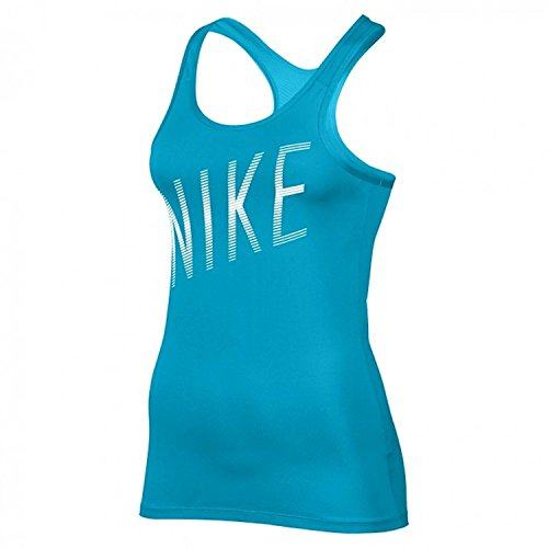 Nike Women's Pro Cool Athletic Tank Top (S, 447 Lt Blue Fury/White)