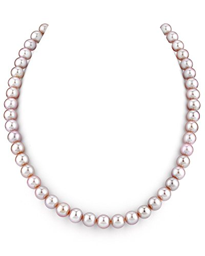 (THE PEARL SOURCE 7-8mm AAA Quality Round Pink Freshwater Cultured Pearl Necklace for Women in 16