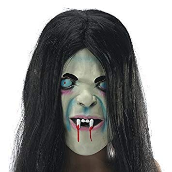 Casavidas Latex Scary Long Hair Halloween Full Face