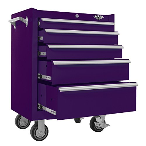 Viper Tool Storage V2605PUR 26-Inch 5-Drawer 18G Steel Rolling Cabinet, Purple