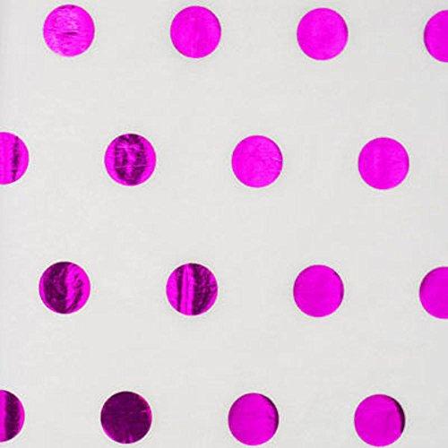Hot Pink Metallic Polka Dot Tissue Paper 20 Inch x 30 Inch - 24 Sheets