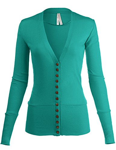 Classic Snap Button Front Tunic V - Neck Slim Fit Cardigans, 013 - Jade, US S