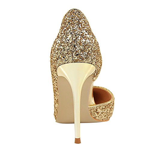 Gold Stilettos Pumps Pointed Shoes Dress MAKEGSI Women Heels Toe High RwxzqvFqa