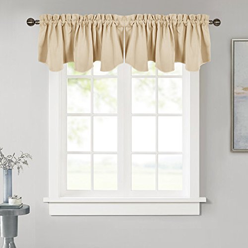 NICETOWN Room Darkening Tier Valance - 52-inch by 18-inch Scalloped Rod Pocket Valance Curtain Panel for Small Window, Cream Beige, One Panel