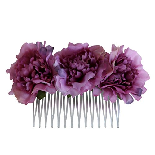 Homyl 1 Piece Hair Comb with 3 Fabric Carnation Flowers Elegant Lady Bridal Hair Accessories - Dusty Pink