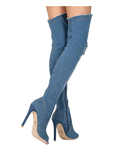 Alrisco Women Distressed Denim Peep Toe Thigh High Stiletto Boot HC45