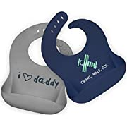 Stylish and Functional! Designer Waterproof Silicone Bibs, Easily Wipes Clean! BPA Free Soft Silicone Baby Bibs with Crumb Catcher Pocket! (Blue-Gray)