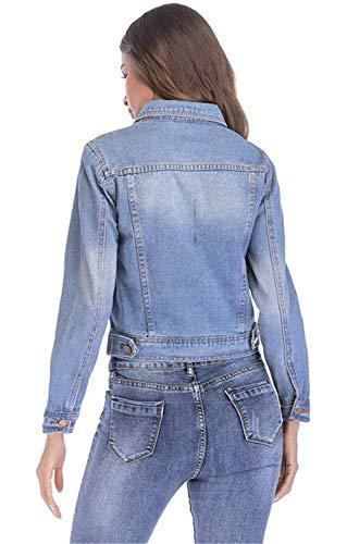 Lunga Fit Giacche Autunno Cappotto Casual Hellblau Fashion Primaverile Vintage Chic Jeans Manica Slim Cute Giaccone Bavero Denim Outerwear Giubbino Eleganti Corto Donna YtqWSq