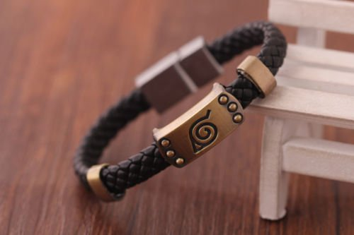 Anime Naruto Bracelet Leaf Mark Brown Wristband Cosplay Bangle For Anime Fan ()