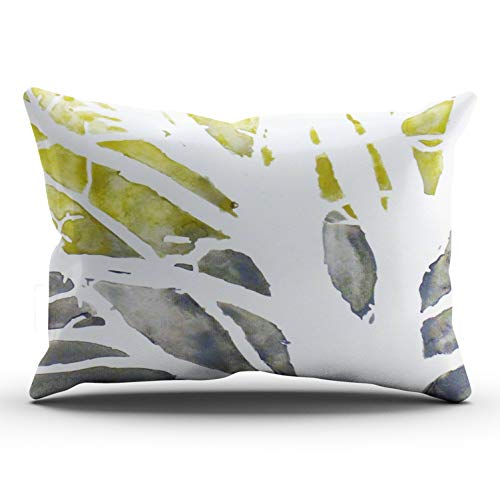 XIUBA Pillowcases Yellow White Olive Green Grey Tree Abstract Customizable Cushion Decorative Rectangle 12x24 inch Lumbar Size Throw Pillow Cover Case Hidden Zipper One Side Design Printed
