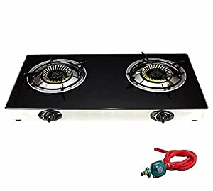 New Propane Gas Range Stove Deluxe 2 Burner Tempered Glass Cooktop Auto Ignition
