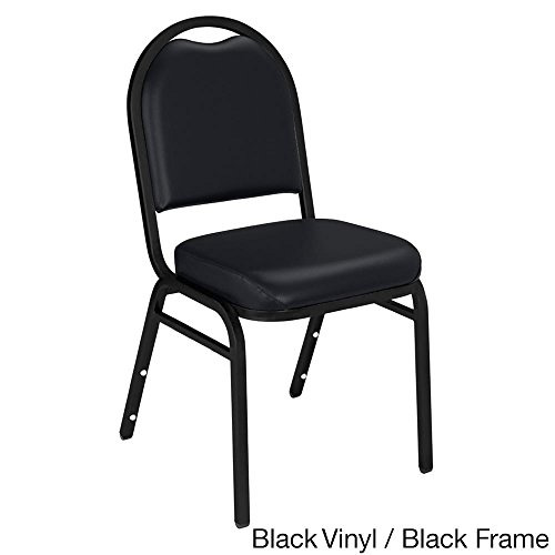 National Public Seating Dome-back Padded Stack Vinyl Chairs (Case of 40) Black by National Public Seating