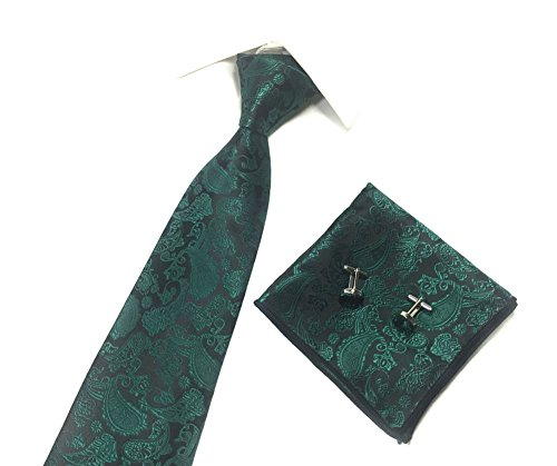 Forest Green Tie - Mens Handmade Polyester Silk Paisley Tie Pocket Square and Cufflinks Set (Forest)