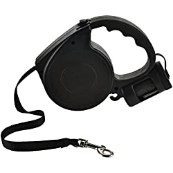 LINKIM Retractable Dog Leash, 16.5 Feet for Small and Medium Breed Dogs Up to 33 lbs,Best for Training Walking Running Climbing Jogging, Dog Waste Dispenser and Bags included,Black