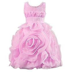 Theplus Pageant Flower Girls 3D Rose Flower Layered Princess Wedding Dress 4T Pink